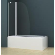 Душевая шторка на ванну AZ-142 (70+30)*140 хром, 6мм прозрачное стекло