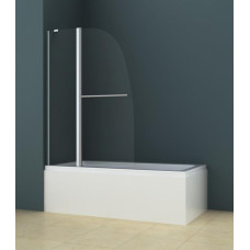 Душевая шторка на ванну AZ-142TB (70+30)*140 с поручнем хром, 6мм прозрачное стекло