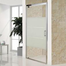 Дверь распашная стекло прозрачное профиль хром 90х
